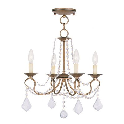Uttoxeter 4-Light Crystal Chandelier Finish: Antique Gold Leaf