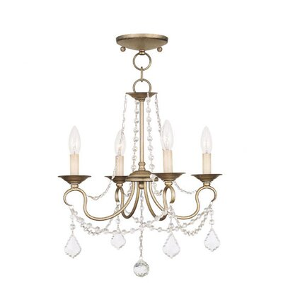 Devana 4-Light Crystal Chandelier Finish: Antique Silver Leaf