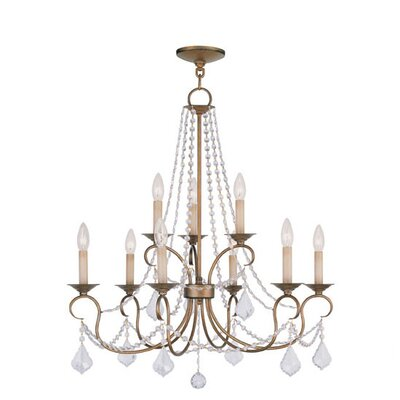 Devana 9-Light Crystal Chandelier Finish: Antique Gold Leaf