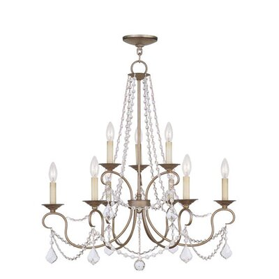 Devana 9-Light Crystal Chandelier Finish: Antique Silver Leaf