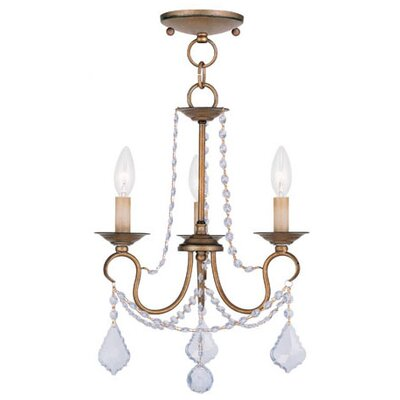 Uttoxeter 3-Light Crystal Chandelier Finish: Antique Gold Leaf