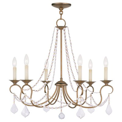 Devana 6-Light Crystal Chandelier Finish: Antique Gold Leaf
