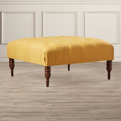 Davina Linen Tufted Cocktail Ottoman Color: French Yellow