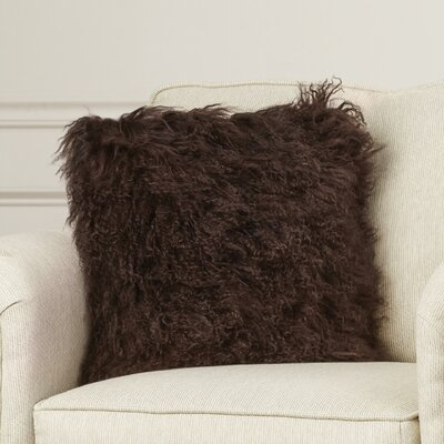 Greer Lamb Fur Throw Pillow Color: Brown