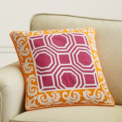Aspatria Throw Pillow Size: 22 H x 22 W x 4 D, Color: Tangerine/Magenta, Filler: Down