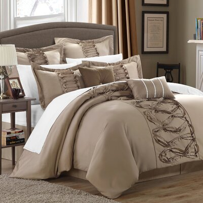 Caterina 8 Piece Comforter Set Size: Queen, Color: Taupe