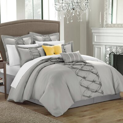 Caterina 8 Piece Comforter Set Size: King, Color: Silver
