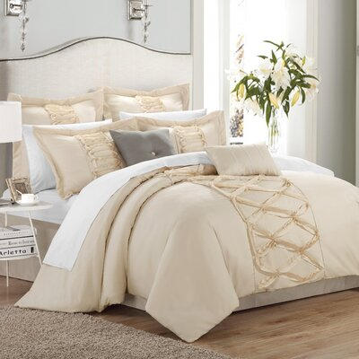 Caterina 8 Piece Comforter Set Size: Queen, Color: Beige