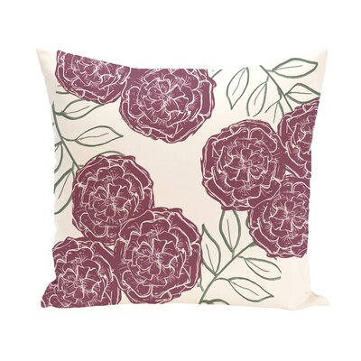 Birness Flower Throw Pillow Size: 18 H x 18 W, Color: Ivory / Dark Purple