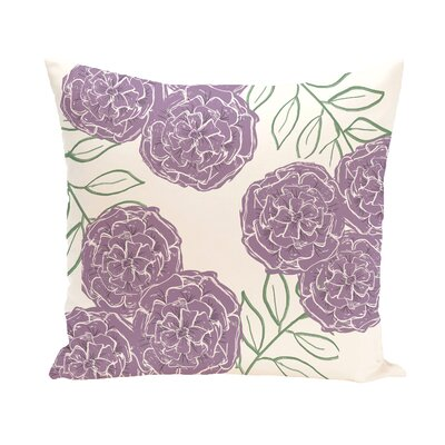 Birness Flower Throw Pillow Size: 16 H x 16 W, Color: Ivory / Purple