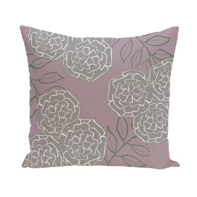 Birness Flower Throw Pillow Size: 16 H x 16 W, Color: Purple / Gray