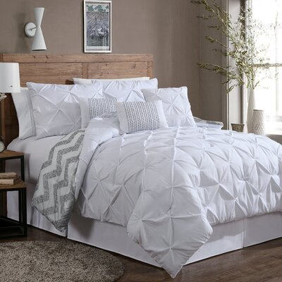 Germain Comforter Set Size: King, Color: White