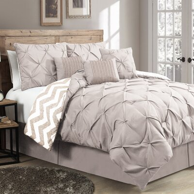 Germain 7 Piece Reversible Comforter Set Size: Queen, Color: Taupe