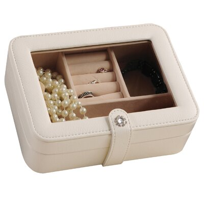 Glass Top Jewelry Box Color: Ivory