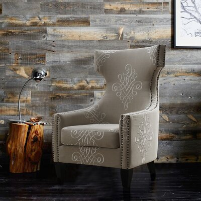 Benedita Embroidered Linen Wingback Chair