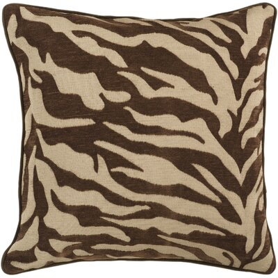 Coen Eye-Catching Zebra Throw Pillow Size: 22 H x 22 W x 4 D, Color: Brown / Beige, Filler: Polyester
