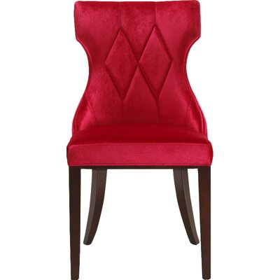 Sutherland Leather Side Chair Upholstery: Velvet - Red