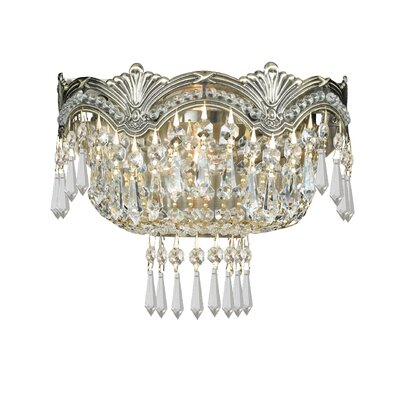 Rupelmonde 2-Light Wall Sconce Crystal: Majestic Wood Polish