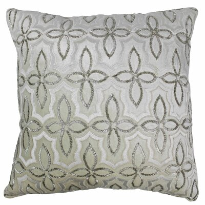 Chagford Cotton Throw Pillow Color: Silver / Ivory