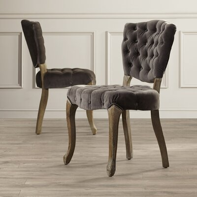 Therrien Tufted Side Chair Upholstery: Charcoal
