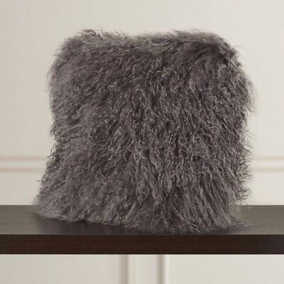 Greer Lamb Fur Throw Pillow Color: Grey