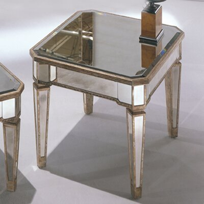 Roehl Mirrored Rectangle End Table in Antique Silver