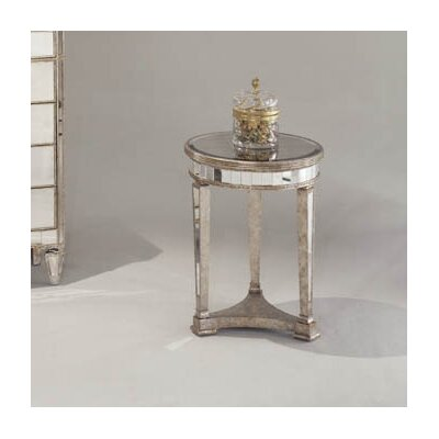 Sandbach Mirrored Round End Table in Antique Silver