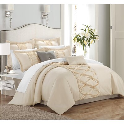 Caterina 12 Piece Comforter Set Size: King, Color: Beige