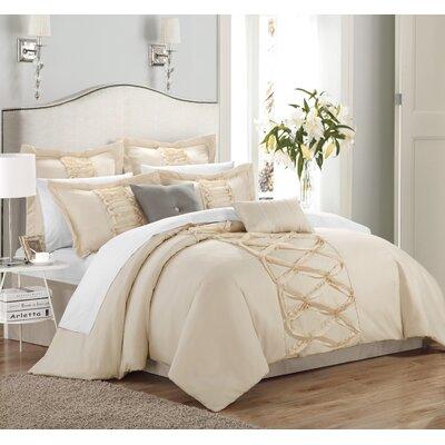 Argill 12 Piece Comforter Set Size: Queen, Color: Beige