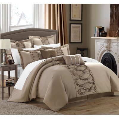Caterina 12 Piece Comforter Set Size: King, Color: Taupe