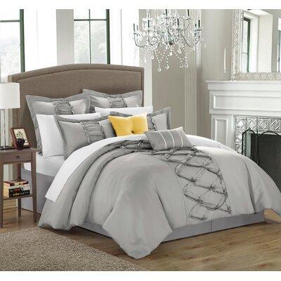 Caterina 12 Piece Comforter Set Size: Queen, Color: Silver
