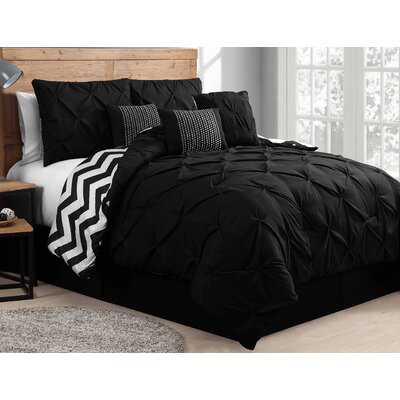 Germain 5 Piece Reversible Duvet Cover Set Color: Black/White, Size: Queen