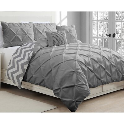Acrion 5 Piece Reversible Duvet Cover Set Color: Gray, Size: Queen