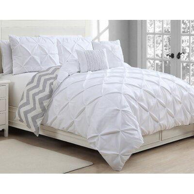 Acrion 5 Piece Reversible Duvet Cover Set Size: King, Color: White