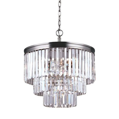 Domenique Traditional 4-Light Crystal Chandelier Finish: Antique Brushed Nickel