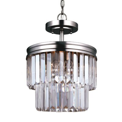 Domenique 2-Light Semi Flush Mount Finish: Antique Brushed Nickel