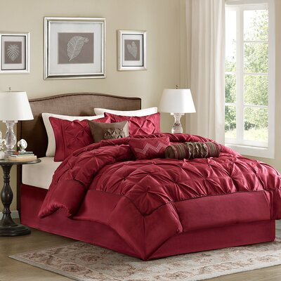 Ashton-under-Lyne 7 Piece Reversible Comforter Set Size: Queen, Color: Red
