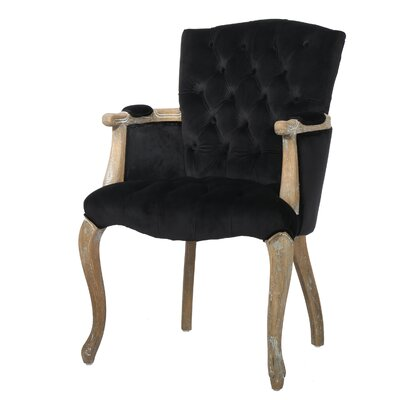 Loughton Velvet Arm Dining Chair Color: Black