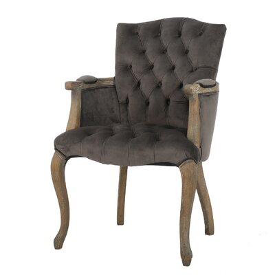 Loughton Velvet Arm Dining Chair Color: Charcoal