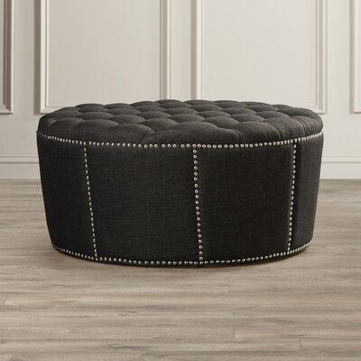 Stockport Nailhead Trim Ottoman Upholstery: Grey Linen