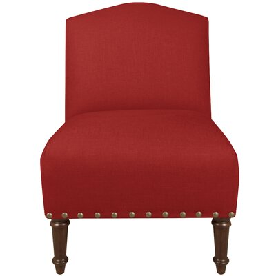 Springdale Camel Back Slipper Chair Upholstery: Linen Antique Red, Nailhead Detail: Brass Nailhead