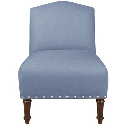Springdale Camel Back Slipper Chair Upholstery: Linen Denim, Nailhead Detail: Pewter Nailhead