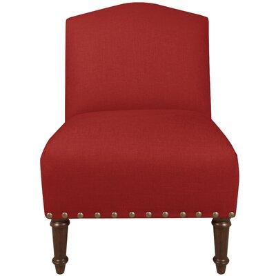 Graven Linen Big Nail Camel Back Chair Color: Antique Red