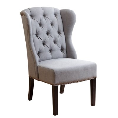Ceallach Parsons Chair Upholstery: Linen - Green-Grey