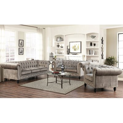 Kashvi 3 Piece Living Room Set Upholstery: Grey