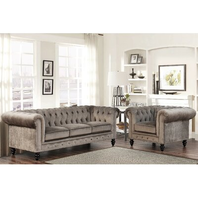 Kashvi 2 Piece Living Room Set Upholstery: Grey