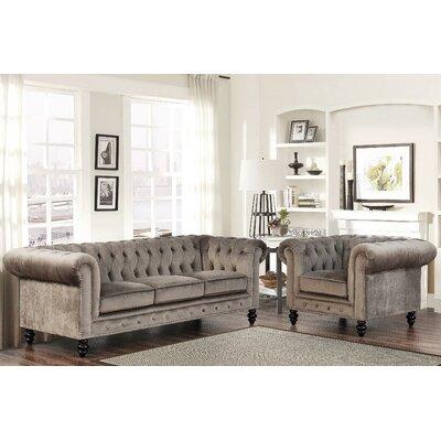 Kashvi 2 Piece Living Room Set Upholstery: Grey