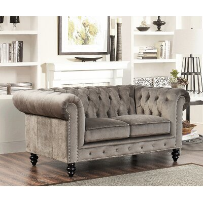 Kashvi Chesterfield Loveseat Upholstery: Grey