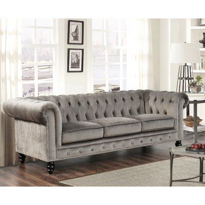 Kashvi Chesterfield Sofa Upholstery: Grey Velvet