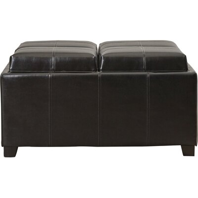 Dandridge Leather Tray Storage Ottoman Upholstery: Espresso